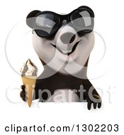 Clipart Of A 3d Panda Wearing Sunglasses And Holding A Waffle Cone Over A Sign Royalty Free Vector Illustration