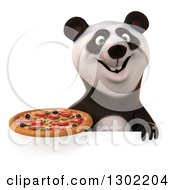 Clipart Of A 3d Panda Holding A Pizza Over A Sign Royalty Free Vector Illustration