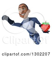 Clipart Of A 3d Young Black Male Super Hero In A Dark Blue Suit Holding A Strawberry And Flying Royalty Free Illustration