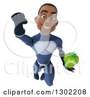 Clipart Of A 3d Young Black Male Super Hero In A Dark Blue Suit Holding A Green Bell Pepper And Flying Royalty Free Illustration