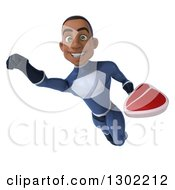 Clipart Of A 3d Young Black Male Super Hero In A Dark Blue Suit Flying With A Beef Steak Royalty Free Illustration