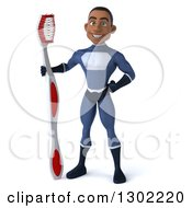 Clipart Of A 3d Young Black Male Super Hero Dentist In A Dark Blue Suit Standing With A Giant Toothbrush Royalty Free Illustration