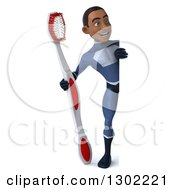Clipart Of A 3d Full Length Young Black Male Super Hero Dentist In A Dark Blue Suit Holding A Giant Toothbrush Around A Sign Royalty Free Illustration