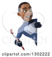 Clipart Of A 3d Young Black Male Super Hero Dentist In A Dark Blue Suit Holding A Toothbrush Around A Sign Royalty Free Illustration