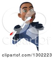 Clipart Of A 3d Young Black Male Super Hero Dentist In A Dark Blue Suit Holding Up A Toothbrush Around A Sign Royalty Free Illustration