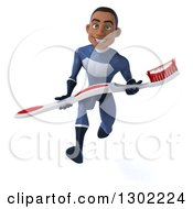 Clipart Of A 3d Young Black Male Super Hero Dentist In A Dark Blue Suit Sprinting And Holding Giant Toothbrush Royalty Free Illustration