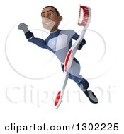 Clipart Of A 3d Young Black Male Super Hero Dentist In A Dark Blue Suit Flying Up To The Left With A Giant Toothbrush Royalty Free Illustration