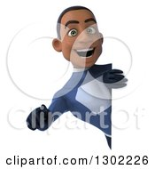 Clipart Of A 3d Young Black Male Super Hero Dark Blue Suit Pointing Outwards Around A Sign Royalty Free Illustration