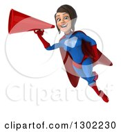 Clipart Of A 3d Young Brunette White Female Super Hero In A Blue And Red Suit Flying And Announcing With A Megaphone 2 Royalty Free Illustration by Julos
