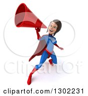 Clipart Of A 3d Young Brunette White Female Super Hero In A Blue And Red Suit Announcing Upwards With A Megaphone Royalty Free Illustration by Julos
