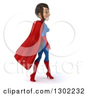 Clipart Of A 3d Young Brunette White Female Super Hero In A Blue And Red Suit Walking Away Royalty Free Illustration by Julos