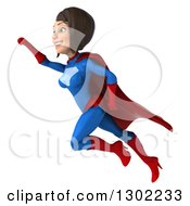 Clipart Of A 3d Young Brunette White Female Super Hero In A Blue And Red Suit Flying Up To The Left Royalty Free Illustration by Julos