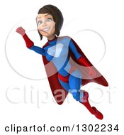 Clipart Of A 3d Young Brunette White Female Super Hero In A Blue And Red Suit Flying Up Left Royalty Free Illustration by Julos