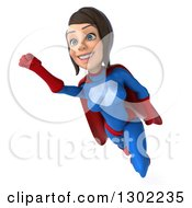 Clipart Of A 3d Young Brunette White Female Super Hero In A Blue And Red Suit Flying Slightly Left Royalty Free Illustration by Julos