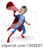 Clipart Of A 3d Young Brunette White Female Super Hero In A Blue And Red Suit Announcing With A Megaphone Royalty Free Illustration by Julos