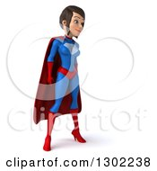 Clipart Of A 3d Young Brunette White Female Super Hero In A Blue And Red Suit Facing Right Royalty Free Illustration by Julos