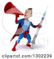 Clipart Of A 3d Young Brunette White Male Super Hero In A Blue And Red Suit Holding A Giant Syringe And Announcing With A Bullhorn Royalty Free Illustration