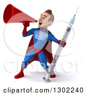 Clipart Of A 3d Young Brunette White Male Super Hero In A Blue And Red Suit Holding A Giant Syringe And Announcing With A Megaphone Royalty Free Illustration