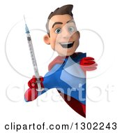 Clipart Of A 3d Young Brunette White Male Super Hero In A Blue And Red Suit Holding A Syringe Around A Sign Royalty Free Illustration