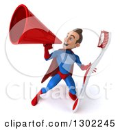 Clipart Of A 3d Young Brunette White Male Super Hero Dentist In A Blue And Red Suit Announcing And Holding A Giant Toothbrush Royalty Free Illustration