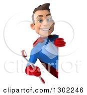 Clipart Of A 3d Young Brunette White Male Super Hero Dentist In A Blue And Red Suit Holding A Toothbrush Around A Sign Royalty Free Illustration