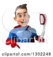Clipart Of A 3d Young Brunette White Male Super Hero Dentist In A Blue And Red Suit Holding A Giant Toothbrush And Pointing Down At A Sign Royalty Free Illustration