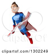 Clipart Of A 3d Young Brunette White Male Super Hero Dentist In A Blue And Red Suit Flying Facing Slightly Left And Holding A Toothbrush Royalty Free Illustration