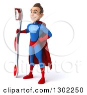 Clipart Of A 3d Young Brunette White Male Super Hero Dentist In A Blue And Red Suit Facing Left And Standing With A Giant Toothbrush Royalty Free Illustration