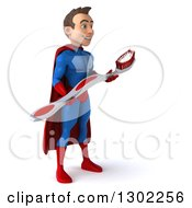 Clipart Of A 3d Young Brunette White Male Super Hero Dentist In A Blue And Red Suit Facing Right And Holding A Giant Toothbrush Royalty Free Illustration