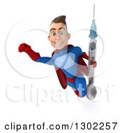 Clipart Of A 3d Young Brunette White Male Super Hero In A Blue And Red Suit Flying Smiling And Holding A Giant Syringe Over A Sign Royalty Free Illustration