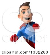 Clipart Of A 3d Young Brunette White Male Super Hero In A Blue And Red Suit Pointing Outwards Around A Sign Royalty Free Illustration