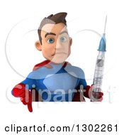 Clipart Of A 3d Young Brunette White Male Super Hero In A Blue And Red Suit Holding A Giant Syringe And Thumb Down Over A Sign Royalty Free Illustration