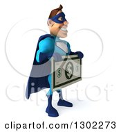 Clipart Of A 3d Caucasian Blue Male Super Hero Facing Right And Holding A Giant Dollar Bill Royalty Free Illustration
