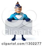 Clipart Of A 3d Caucasian Blue Male Super Hero Holding A Giant Envelope Royalty Free Illustration