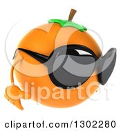 Clipart Of A 3d Navel Orange Character Wearing Sunglasses And Facing Right Royalty Free Vector Illustration by Julos