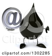 Clipart Of A 3d Oil Drop Character Giving A Thumb Down And Holding An Email Arobase At Symbol Royalty Free Vector Illustration