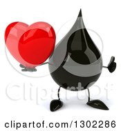 Clipart Of A 3d Oil Drop Character Giving A Thumb Up And Holding A Love Heart Royalty Free Vector Illustration