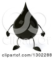 Clipart Of A 3d Oil Drop Character Royalty Free Vector Illustration