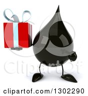 Clipart Of A 3d Oil Drop Character Holding And Pointing To A Gift Royalty Free Vector Illustration