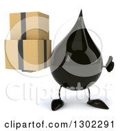 Clipart Of A 3d Oil Drop Character Holding A Thumb Up And Boxes Royalty Free Vector Illustration