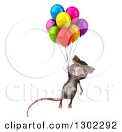 Clipart Of A 3d Happy Mouse Floating With Colorful Party Balloons Royalty Free Vector Illustration