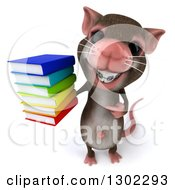 3d Mouse With Braces Holding Up And Pointing To A Stack Of Books