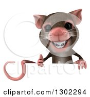 Clipart Of A 3d Mouse With Braces Giving A Thumb Up Over A Sign Royalty Free Vector Illustration