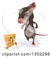 Clipart Of A 3d Mouse With Braces Chasing A Cheese Wedge Royalty Free Vector Illustration