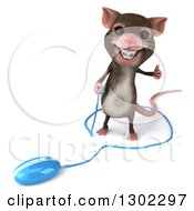Clipart Of A 3d Mouse With Braces Giving A Thumb Up By A Blue Computer Mouse Royalty Free Vector Illustration by Julos