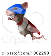 Clipart Of A 3d Super Hero Mouse With Braces Flying To The Left Royalty Free Vector Illustration