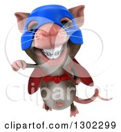 Clipart Of A 3d Super Hero Mouse With Braces Flying Royalty Free Vector Illustration