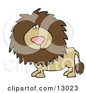 Big Male Lion Looking At The Viewer Clipart Illustration