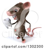 Clipart Of A 3d Mouse With Braces Facing Left And Holding A Tooth Royalty Free Vector Illustration