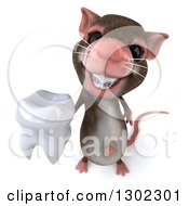Clipart Of A 3d Mouse With Braces Holding Up A Tooth Royalty Free Vector Illustration